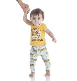 Kickee Pants Print SS Pajama Set Spring Sky Tiger