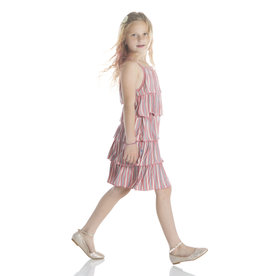 Kickee Pants Print Tiered Ruffle Dress India Dawn Stripe