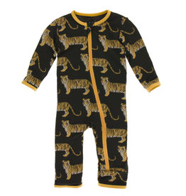 Kickee Pants Print Coverall (Zipper) Zebra Tiger
