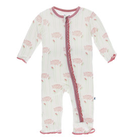 Kickee Pants Muffin Ruffle Coverall (Zipper) Natural Lotus Flower