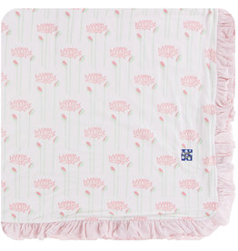 Kickee Pants Print Ruffle Toddler Blanket Natural Lotus Flower