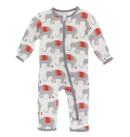 Kickee Pants Print Coverall (Zipper) Natural Indian Elephant