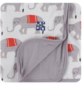 Kickee Pants Print Toddler Blanket Natural Indian Elephant