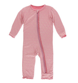 Kickee Pants Muffin Ruffle Coverall (Zipper) Desert Rose Gold Leaf