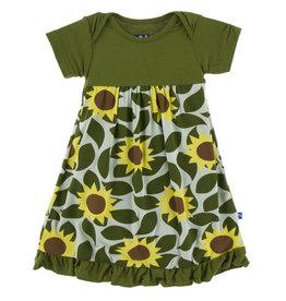 Kickee Pants SS Dress Romper Aloe Sunflower