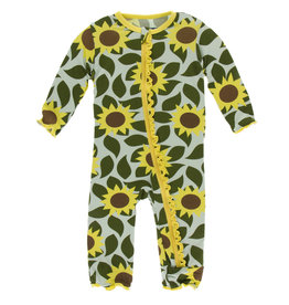 Kickee Pants Muff. Ruff. Coverall Zipper Aloe Sunflower