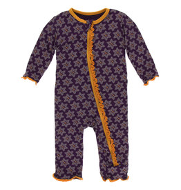 Kickee Pants Muff. Ruff. Coverall Zipper Wine Grapes Saffron