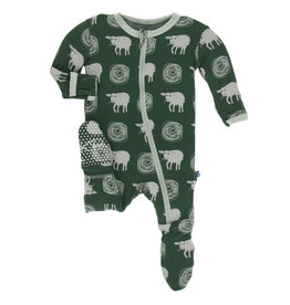 Kickee Pants Footie Zipper Tuscan Sheep