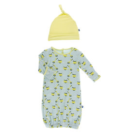 Kickee Pants Layette Gown & Hat Spring Sky Scooter