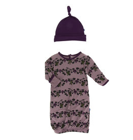Kickee Pants Layette Gown & Hat Raisin Grape Vines
