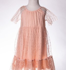 M. L. Kids Peach Dress w/ Overlay & Gold Details