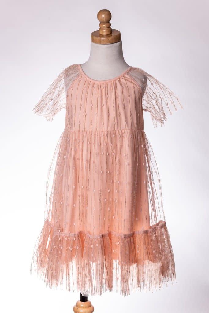 M. L. Kids Peach Dress w/ Overlay & Gold Details