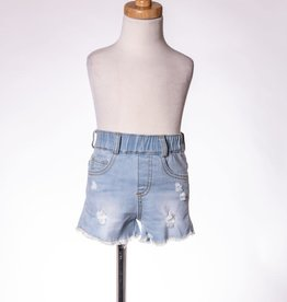 M. L. Kids Light Blue Denim Short Distressed/Crochet Pockets
