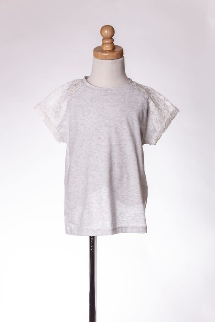 M. L. Kids Light Heather Gray Shirt Lace Sleeves