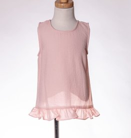 M. L. Kids Light Pink Textured Criss-Cross Back Top