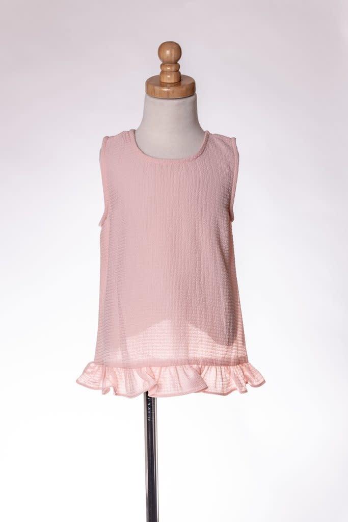 M. L. Kids Light Pink Textured Criss-Cross Back Top