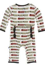 Kickee Pants Print Coverall (Zipper) Natural Indian Train