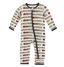 Kickee Pants Print Coverall (Zipper) Natural Indian Train