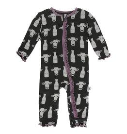 Kickee Pants Muff. Ruff. Coverall Zipper Zebra Tuscan Cow