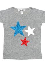 Sweet Wink Red White Blue Stars SS Shirt Gray