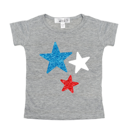Sweet Wink Red White Blue Stars SS Shirt Gray