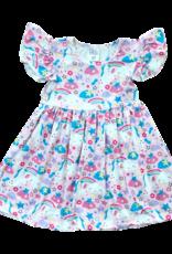 Mila & Rose Pink Unicorn Flutter Sleeve Dress