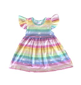 Mila & Rose Rainbow Flutter Sleeve Dress