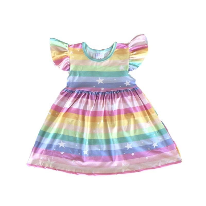 Mila & Rose Rainbow Flutter Sleeve Dress