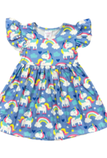 Mila & Rose Rollin Unicorn Flutter Sleeve Dress