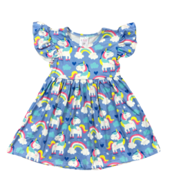 Mila & Rose Rollin Unicorn Flutter Sleeve Dress