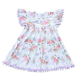 Mila & Rose Magical Unicorn Lavender Pom Pom Dress