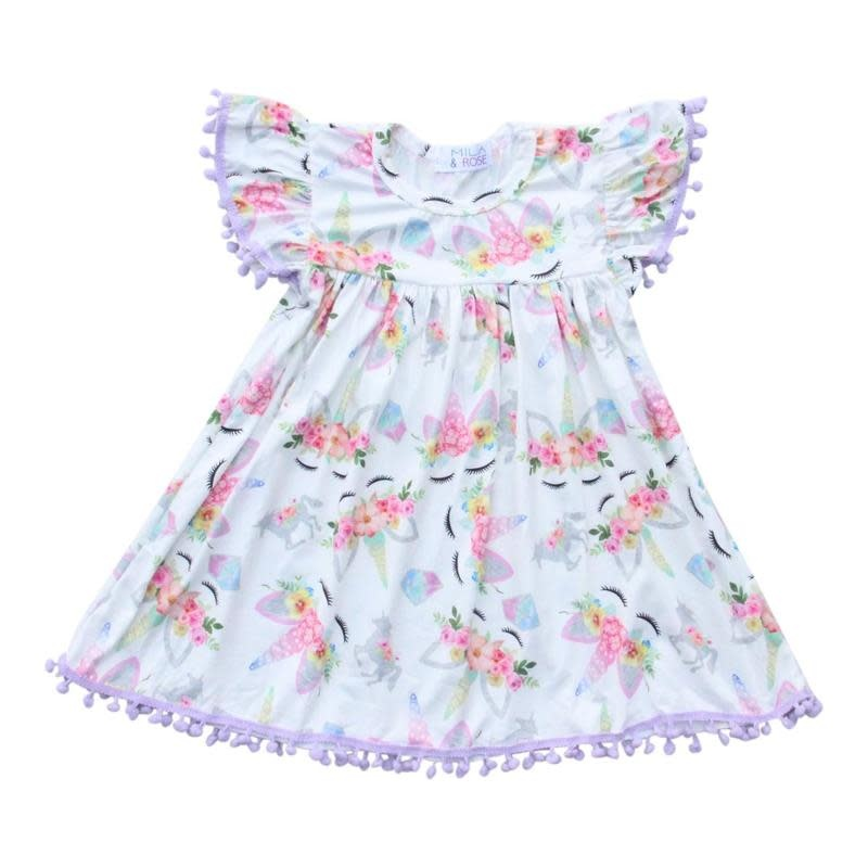 Mila & Rose Magical Unicorn Lavender Pom Pom Dress