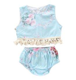 Mila & Rose Blue Floral Fringe Crop Top Set
