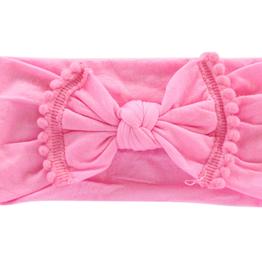 Mila & Rose Bubblegum Pink Pom Pom Nylon Headwrap