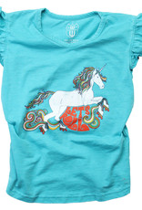 Wes And Willy Unicorn Ruffle Sleeve Tee Emerald
