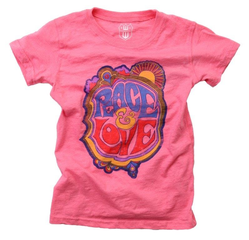 Wes And Willy Peace Love Blend Slub Pink Tee