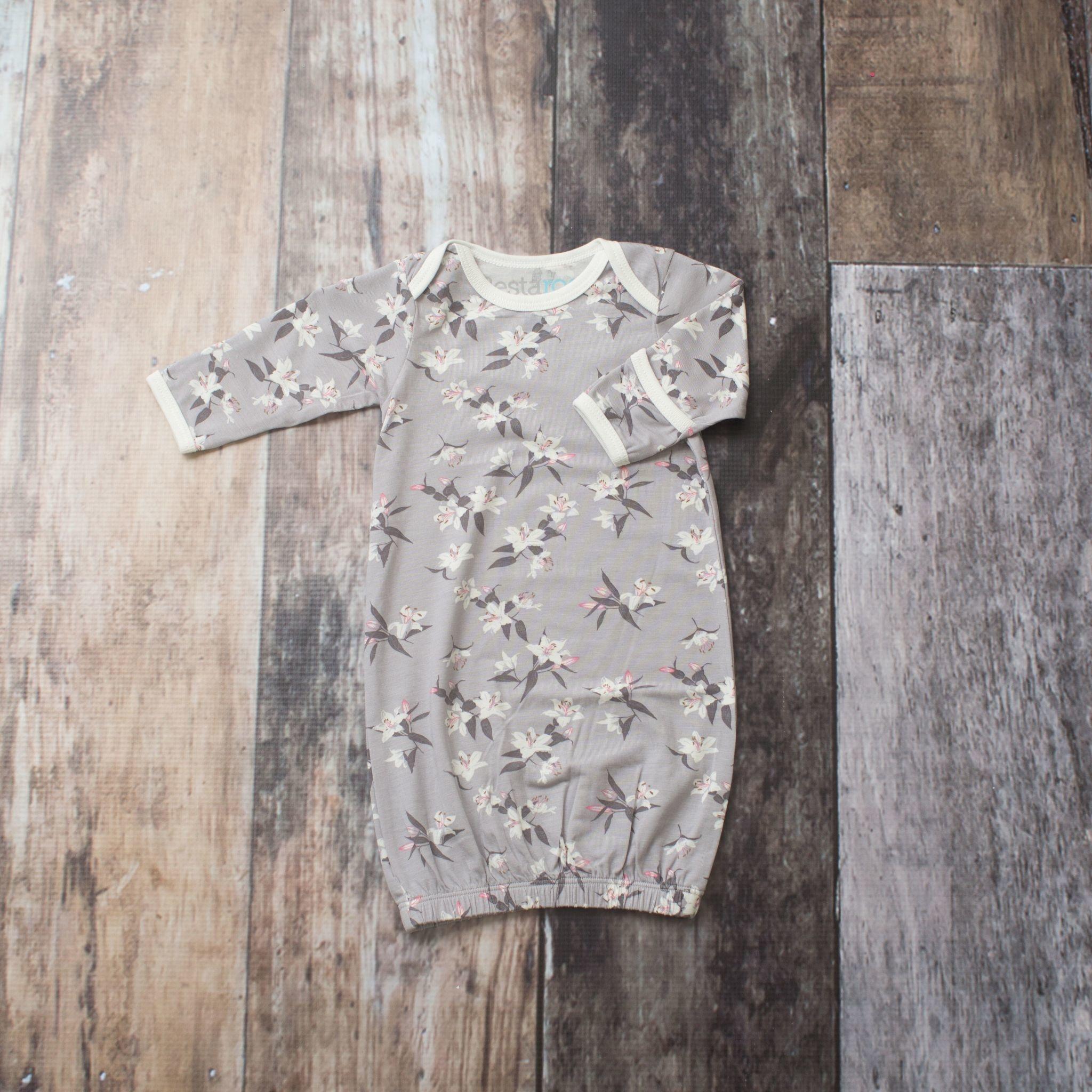 Bestaroo Gown Gray Lillies 0/3M
