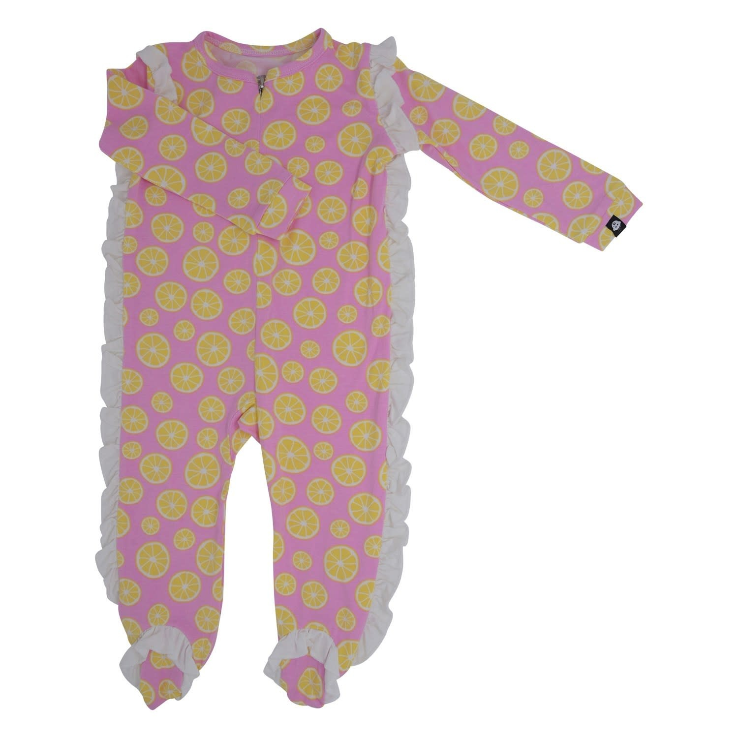 Sweet Bamboo Side Ruffle Footie with Zipper Lemons