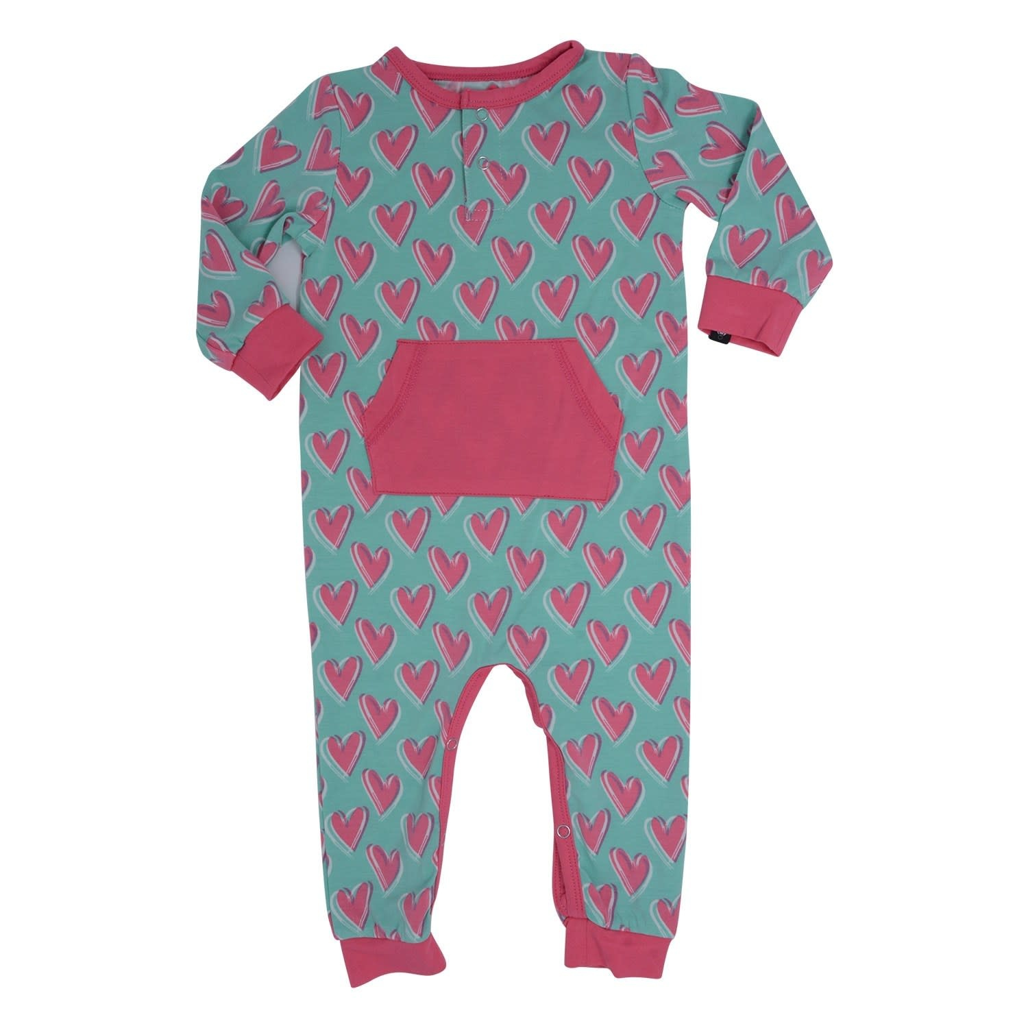 Sweet Bamboo Pocket Romper with Front Placket Hearts