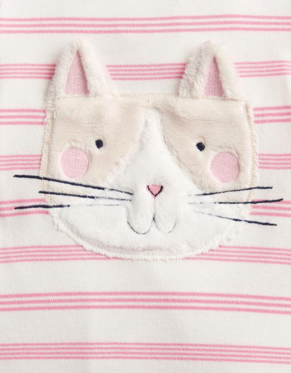 Joules Gracie Pink Stripe Cat Babygrow