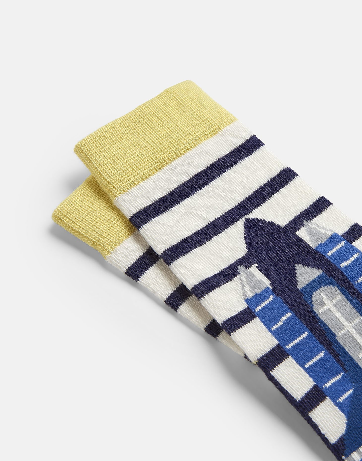 Joules Neat Feet Socks Cream Navy Stripe Rocket