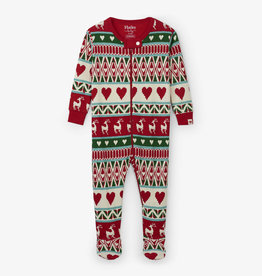 Hatley Mistletoe Deer Fair Isle Footed Coverall