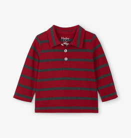 Hatley Crimson Stripe LS Baby Polo Tee