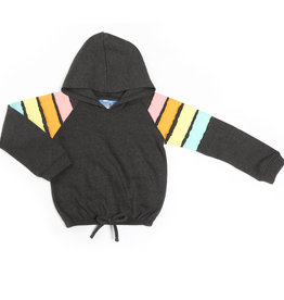 Kapital K Rainbow Sleeve Hoodie Charcoal
