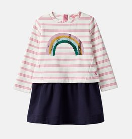 Joules Lucy Dress Pink Stripe Sequin Rainbow