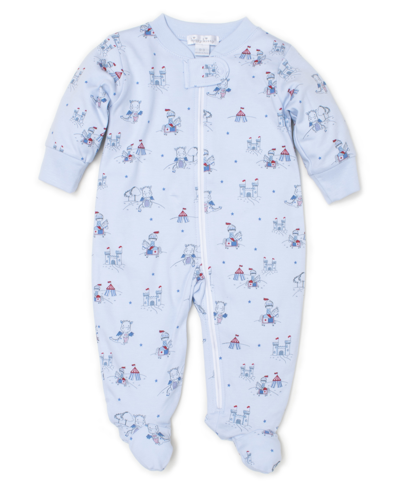Kissy Kissy Light Blue Zipper Footie Dragon's Den