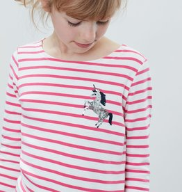 Joules Harbour Luxe Shirt Pink Stripe Unicorn
