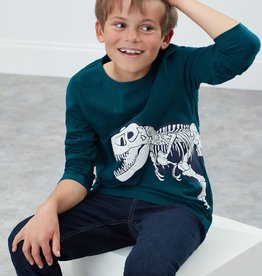 Joules Raymond Shirt Green Dino Skeleton