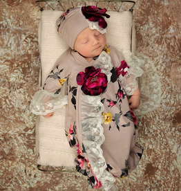 Haute Baby Cranberry Rose Gown