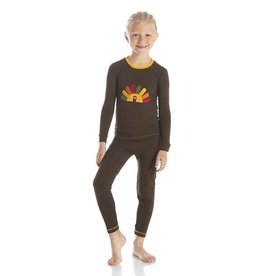 Kickee Pants Bark Turkey LS Pajama Set